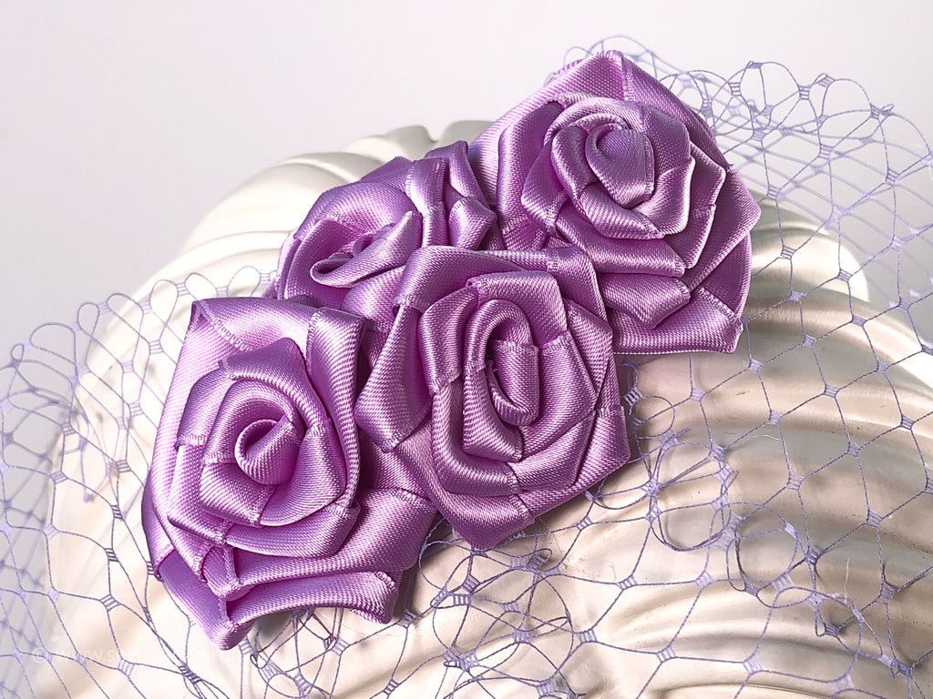 BIRDCAGE - VEIL HEADDRESS WITH ROSES IN SHADES OF PURPLE FROM LIGHT LAVENDER TO LILAC AND MAUVE