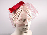 BIRDCAGE - VEIL HEADDRESS IN SHADES OF DARK AND RUBY RED, MARSALA, BORDEAUX AND ROUGE