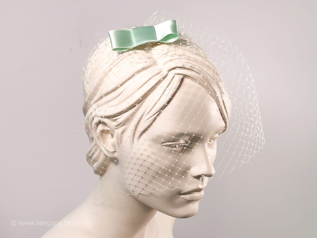 BIRDCAGE - VEIL HEADDRESS WITH A BOW IN LIGHT GREEN SHADES LIKE TEAL EUCALYPTUS, NEO MINT, SILVER SAGE GREEN