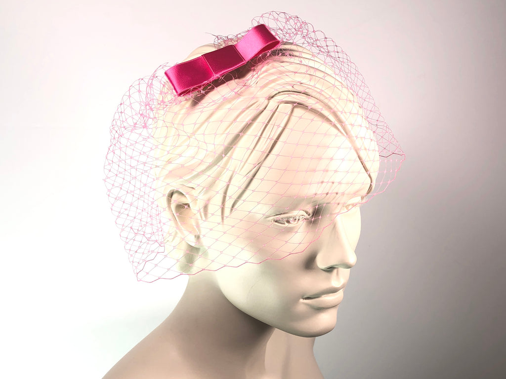 BIRDCAGE - VEIL HEADDRESS WITH BOW IN MANY SHADES OF PINK, LIKE CINNAMON ROSE, PEACH,  MISTY ROSE OR ALMOND BLOSSOM