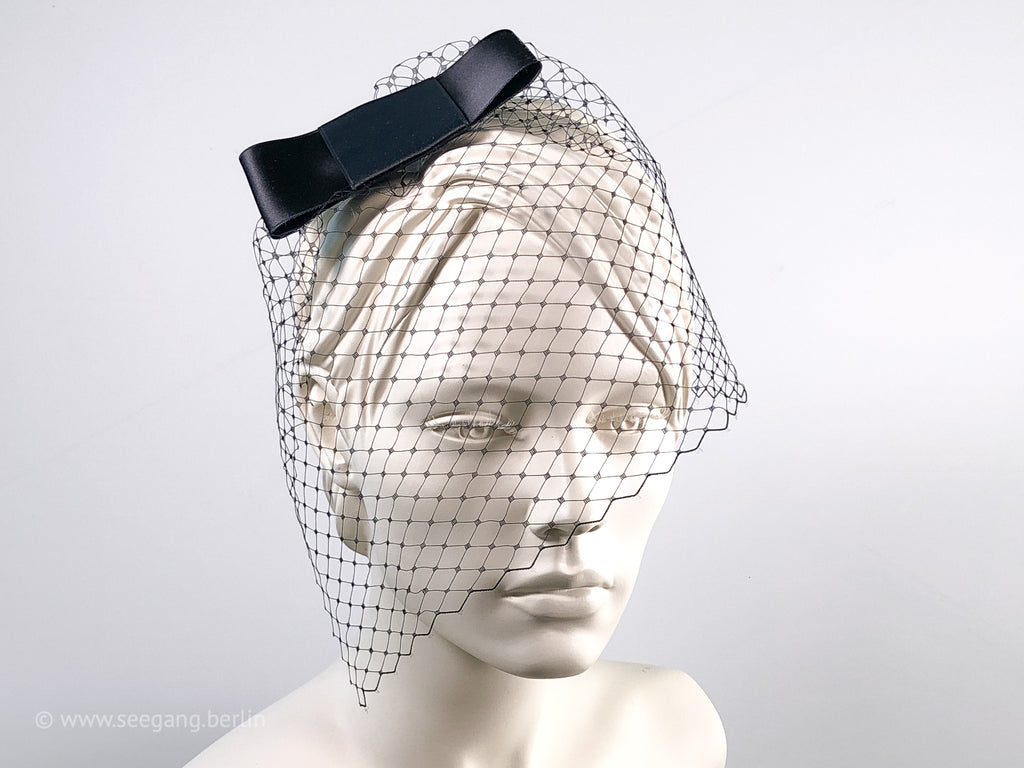 BIRDCAGE - VEIL HEADDRESS WITH A BLACK FAT SATIN BOW FOR THE DARK SIDE OF LIFE