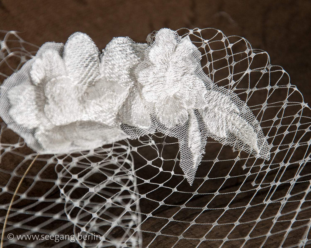 BIRDCAGE - BRIDAL VEIL HEADDRESS WITH LACE FLOWERS IN OFF WHITE, CREME OR IVORY COLOUR © Seegang Berlin