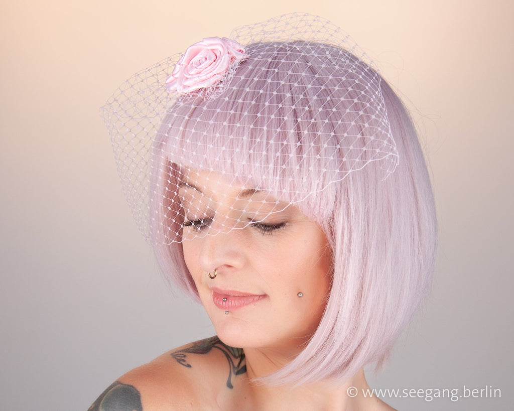 BIRDCAGE - VEIL HEADDRESS WITH ROSES IN SHADES OF PINK, DUSTY ROSE, BLUSH, OR ALMOND BLOSSOM © Seegang Berlin