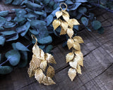EARRINGS - jewellery IN GOLDEN COLOR, FAIRY LEAFS
