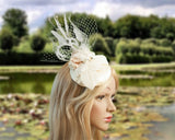 FASCINATOR - BRIDAL HEADPIECE WITH TWO CUTE LOVEBIRDS IN THEIR NEST © Seegang Berlin