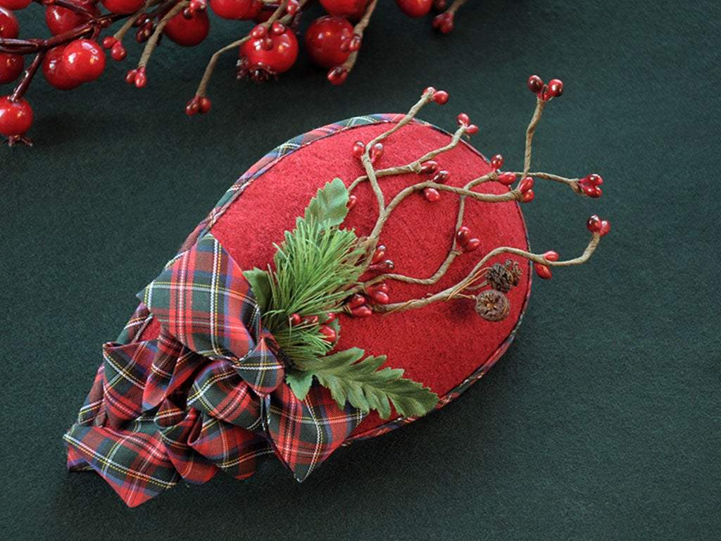 FASCINATOR - DROP SHAPED GORGEOUS WINTERTIME HEADDRESS WITH DRAPED TARTAN RIBBON © Seegang Berlin