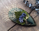FASCINATOR - DROP SHAPED HEADDRESS IN EVERGREEN WOODLAND STYLE WITH BLUE BERRIES © Seegang Berlin