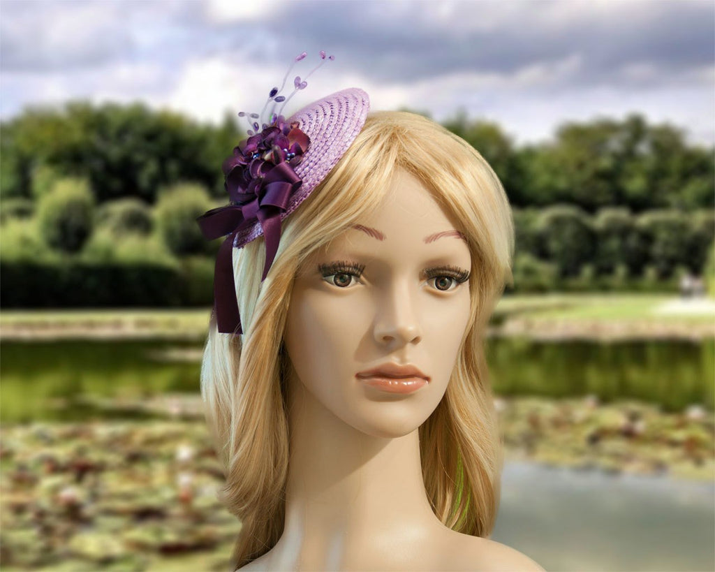FASCINATOR - PURPLE HAT IN MAUVE TO LAVENDER AND HYACINTH COLOURS © Seegang Berlin