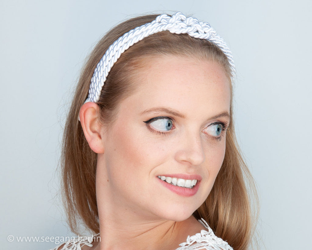 HAIR CIRCLET - BRIDAL HAIR ACCESSORY FROM CORDS WITH A SAILORS KNOT IN WHITE OR CREME COLOUR © Seegang Berlin