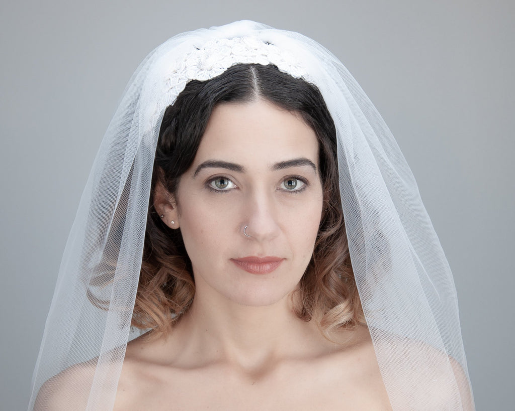 HAIR CIRCLET - BRIDAL HAIR ACCESSORY WITH ORNAMENTS FROM CORDS IN OFF WHITE © Seegang Berlin