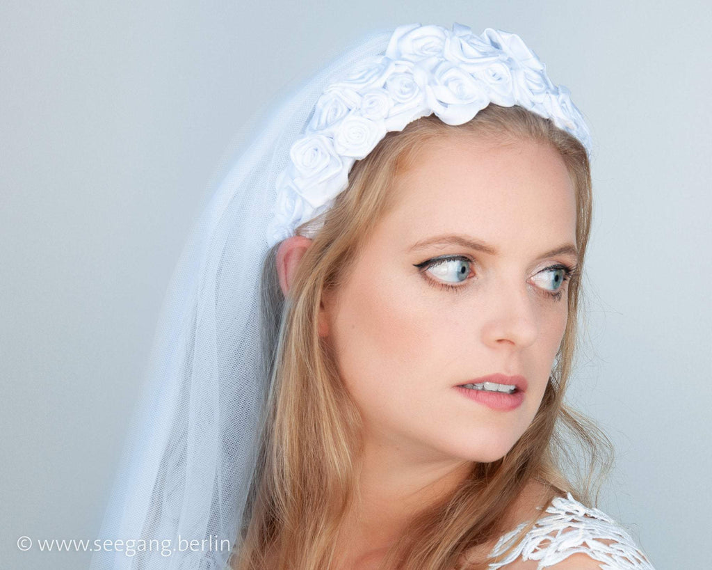 HAIR CIRCLET - BRIDAL HEADBAND FROM MANY HAND SEWN ROSES IN WHITE COLOR © Seegang Berlin