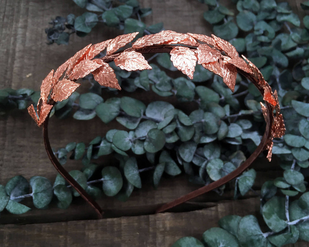 HAIR CIRCLET - BRIDAL JEWELLERY WITH FAIRY LEAFS IN RED GOLD COLOUR FOR WOODLAND STYLES © Seegang Berlin