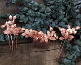 HAIR COMB - BRIDAL JEWELLERY WITH LEAFS IN ROSÉ GOLD © Seegang Berlin