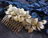 HAIR COMB - BRIDAL JEWELRY IN GOLDEN COLOR, FAIRY LEAFS © Seegang Berlin