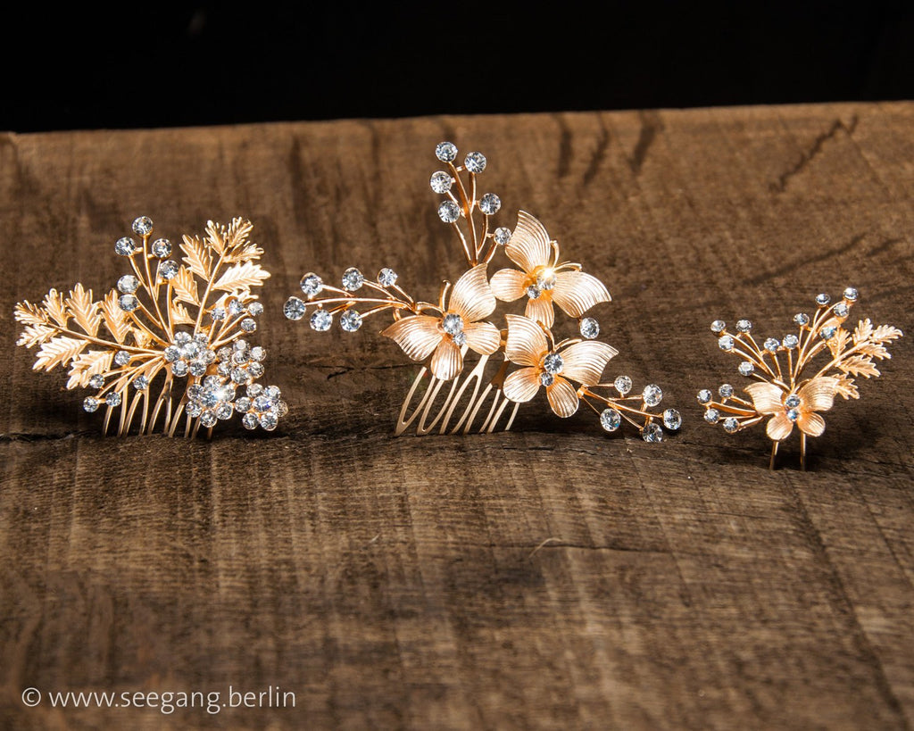 HAIR COMBS SET - BRIDAL JEWELLERY HAIRDOS WITH RHINESTONES IN GOLD © Seegang Berlin