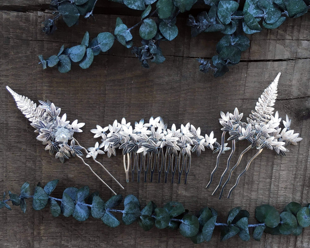 HAIR COMBS SET - BRIDAL JEWELLERY WITH LEAFS FOR THE FAIRY BRIDE © Seegang Berlin