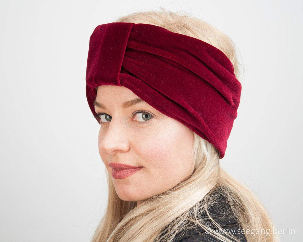 HEADBAND - LUXURY TURBAN IN HIGHEST QUALITY DEEP RUBY RED VELVET © Seegang Berlin