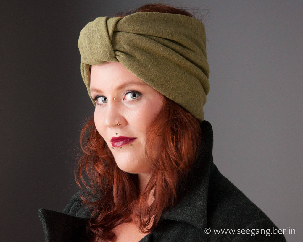 HEADBAND - TURBAN IN COSY IN OLIVE GREEN COTTON © Seegang Berlin