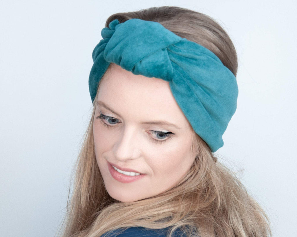 HEADBAND - TURBAN STYLE IN CUDDLY COTTON VELVET IN TEAL © Seegang Berlin