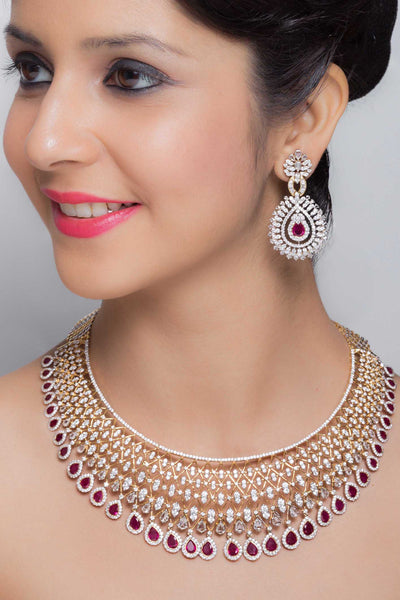 Red Ruby Necklace Set Online India