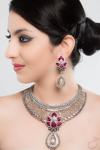 Fancy Bridal Jewellery Set with Enamel by Orionz