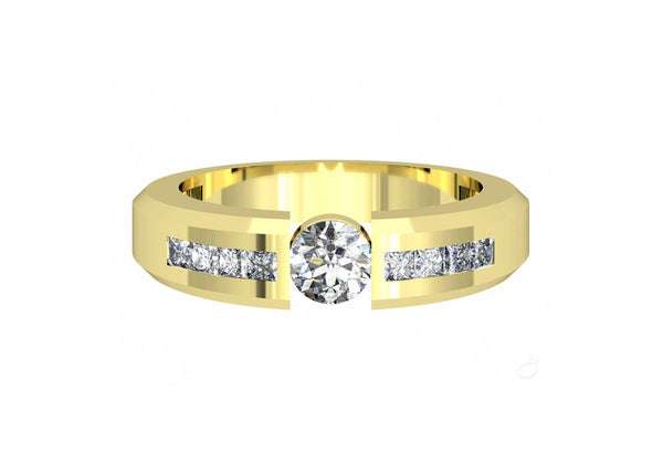 Diamond Solitaire Ring for Men in Yellow Gold