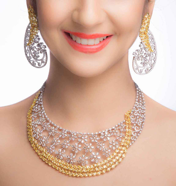 Yellow Sapphire Diamond Necklace Set Online