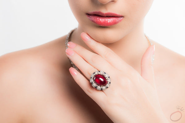 Red Burmese Ruby Earrings in Gold with Diamonds