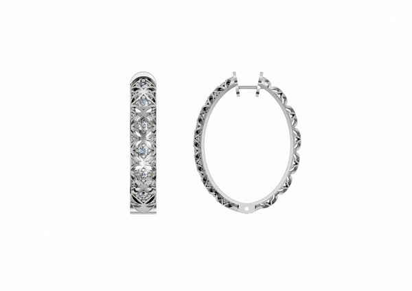 Art Deco Hoop Earrings in White Gold