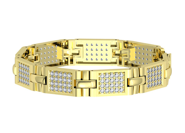 Mens Bracelet with Diamonds in Yellow Gold