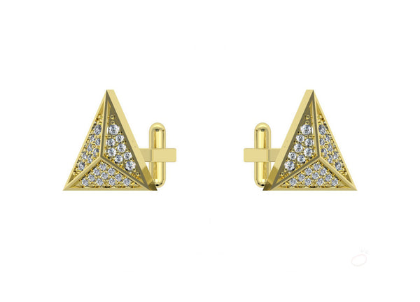 Triangle Cufflinks in Yellow Gold For Men