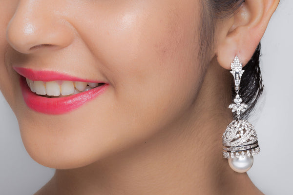 White Gold Plated Pearl Jhumkis with Diamonds