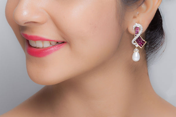 Red Ruby Earrings with Pearl
