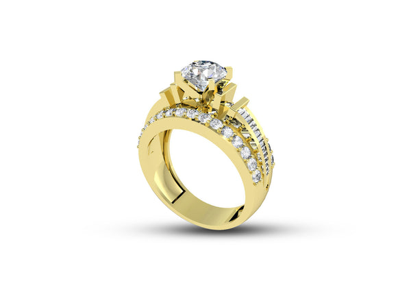 Diamond Solitaire Ring for Women in Yellow Gold