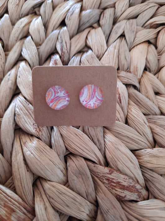 GLASS EARRING STUDS - PINK/ WHITE