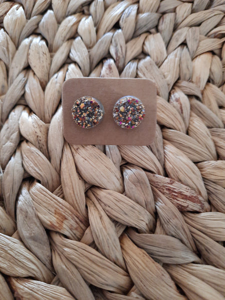 RESIN EARRING STUDS - MULTI-COLOURED