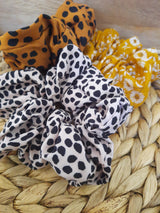 LARGE SCRUNCHIE TRIPLE PACK MUSTARD/ LEOPARD / CHEATER
