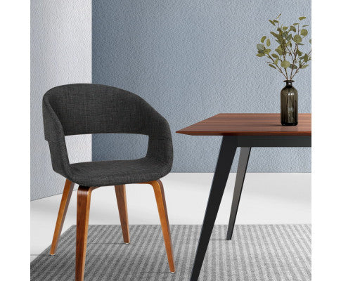 SET OF 2 FABRIC TIMBER DINING CHAIR - CHARCOAL