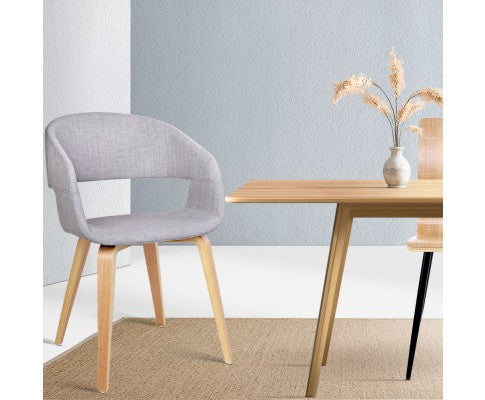 SET OF 2 FABRIC TIMBER DINING CHAIR - LIGHT GREY