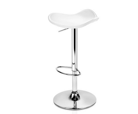 ARTISS LEATHER CHROME SET OF 2 BAR STOOL - WHITE