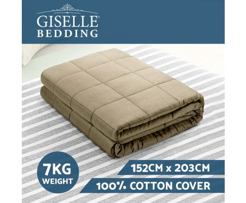 GISELLE 7KG COTTON WEIGHTED BLANKET - BROWN