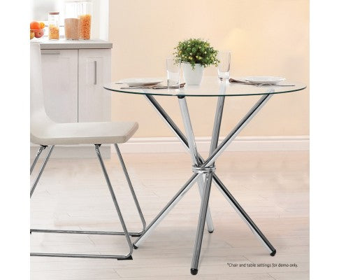 LUX ROUND GLASS DINING TABLE - SILVER
