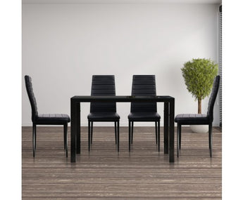 ARTISSS 5 PIECE DINING TABLE AND CHAIR SET - BLACK