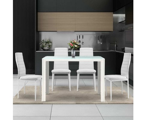 ARTISS 5 PIECE DINING TABLE AND CHAIRS - WHITE