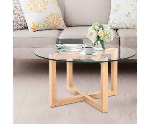 ARTISS ROUND TEMPERED GLASS COFFEE TABLE - NATURAL/ GLASS