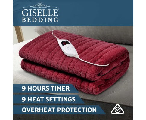 GISELLE ELECTRIC THROW BLANKET - BURGUNDY