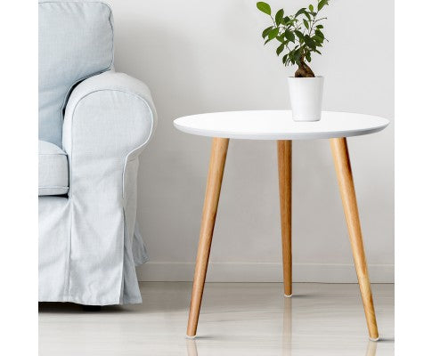 ARTISS ROUND LAMP TABLE - WHITE/NATURAL