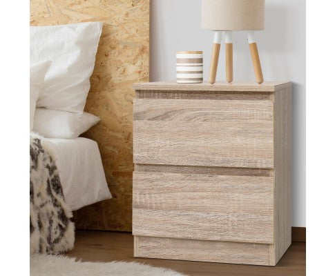 ARTISS 2 DRAW BEDSIDE TABLE - NATURAL