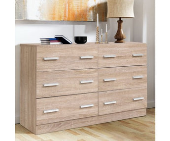 ARTISS 6 DRAW LOWBOY STORAGE DRAWS - NATURAL