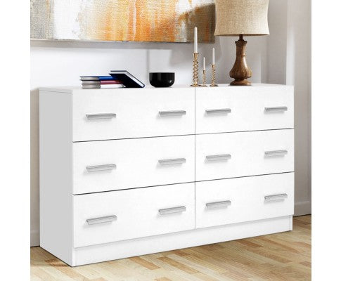 ARTISS 6 DRAW LOWBOY STORAGE DRAWS - WHITE